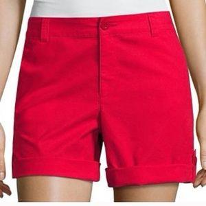 🆕Liz Claiborne Red Classic Khaki Chino Shorts